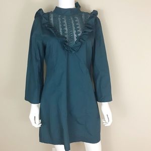 Free People M NWT Boho Teal 3/4 Bell Sleeve Dress